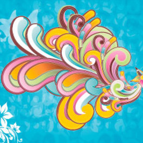 Colorful Blue Ornament Vector Background - Free vector #217805