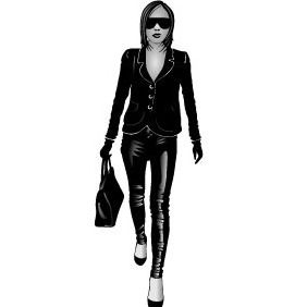 Girl In Black Vector - Kostenloses vector #217865