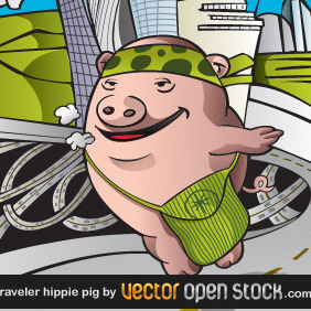 Pig Hippie Traveling The World - vector gratuit #217955