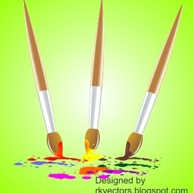 Vector Colourful Paint Brush - vector gratuit #218405