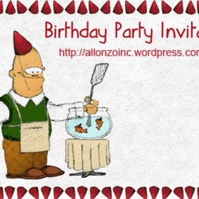 Birthday Party Invitation Card - vector gratuit #218455