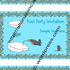 Penguin Pool Party Invitation Card 2 - Free vector #218545