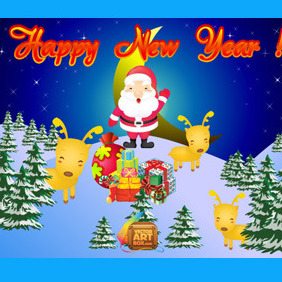 Vector New Year Card - vector gratuit #218675