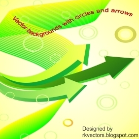 Yellow Backgrounds With Circles And Arrows - Free vector #219035