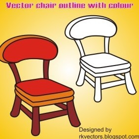 Vector Outline Chair With Colour - vector gratuit #219135