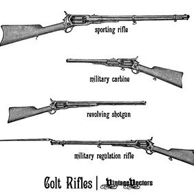 Old Colt Rifles And Revolving Shotgun - vector gratuit #219335