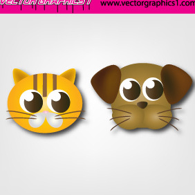 Cute Dog And Cat - vector gratuit #219915