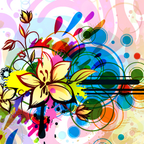 Colorful Floral Background Vector Background - vector #220215 gratis