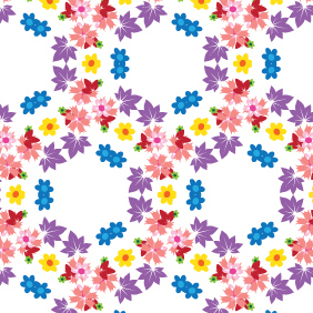 Floral Honeycomb Pattern - Free vector #220285