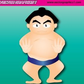 Japanese Sumo Wrestler Graphic - vector gratuit #220325