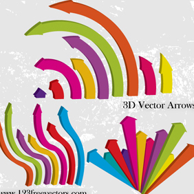 3D Vector Arrows - vector gratuit #221275