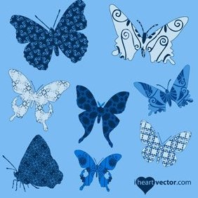 Butterflies Patterns Vector Pack - Kostenloses vector #221495
