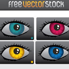 Colourful Eyes Vector - Free vector #221535