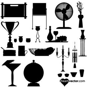 Household Items Vector Pack - vector gratuit #221635