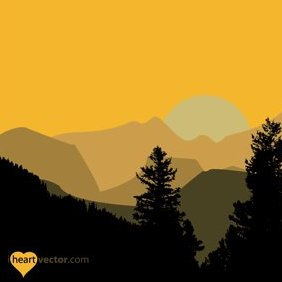 Hills And Trees Vector - vector gratuit #222135