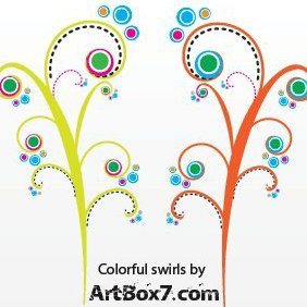 Colorful Swirls Vectors - Free vector #222215