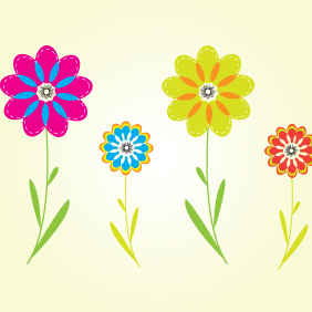 Colorful Flower Vectors By ArtBox7.com - vector gratuit #222265