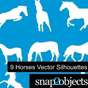 9 Horses Vector Silhouettes - Kostenloses vector #222345