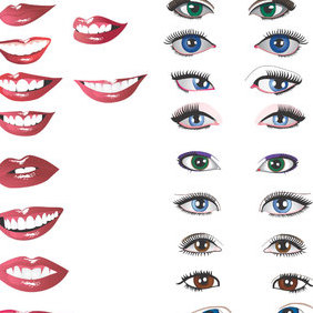 Eyes And Mouths - vector gratuit #222985