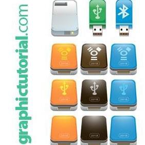 Usb Flash Drive Icons - vector gratuit #223265