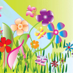 Garden With Flowers - vector gratuit #223635