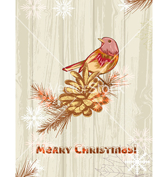 Free christmas with pine cone and bird vector - vector gratuit #223675