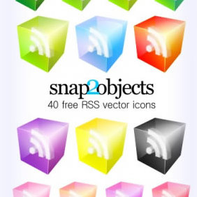 40 Translucent 3D Look Rss Vector Icons - Free vector #223825
