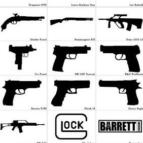 Photoshop Custom Shapes Guns - Free vector #224045