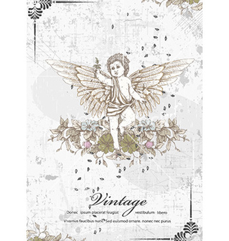 Free angel with floral vector - vector gratuit #232295