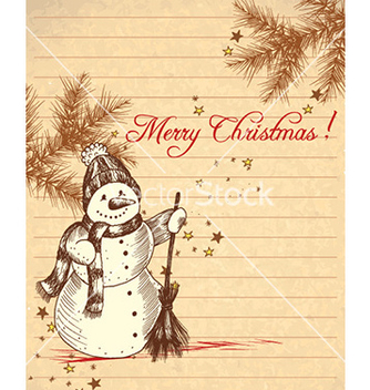 Free christmas with snow man vector - vector gratuit #232395