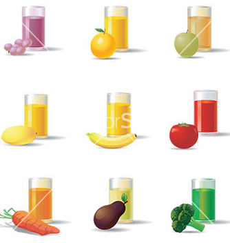 Free vegetable and fruit juice set vector - Free vector #232755