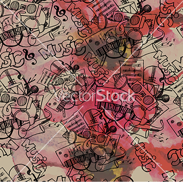 Free pattern of the music on watercolor background vector - vector gratuit #233035