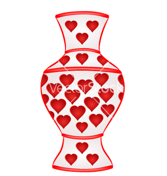 Free vase with red hearts part of porcelain vector - Kostenloses vector #233085
