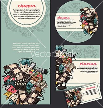 Free set of movie cinema banners vector - Free vector #233245