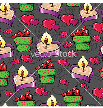 Free pattern with a candle and hearts vector - Kostenloses vector #233265