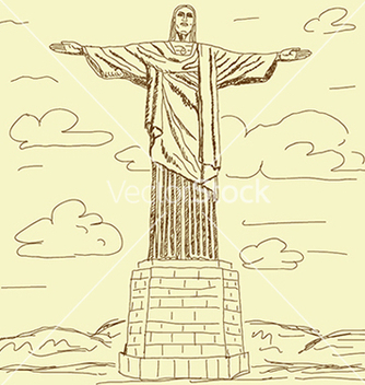Free vintage of famous tourist destination christ the vector - Free vector #233345