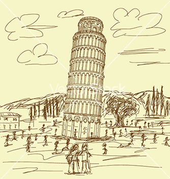 Free hand drawn of famous tourist destination leaning vector - vector gratuit #233445