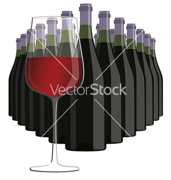 Free glass of red wine with bottles of wine isolated in vector - Kostenloses vector #233495