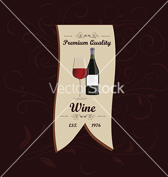Free wine menu ribbon design element with floral vector - Free vector #233505