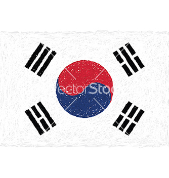 Free hand drawn of flag of south korea vector - Free vector #233565