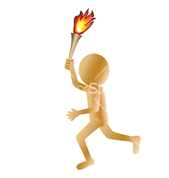 Free a running golden 3d man carrying a torch isolated vector - Free vector #233605