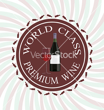 Free glass of red wine and bottle label stamp design vector - Kostenloses vector #233725