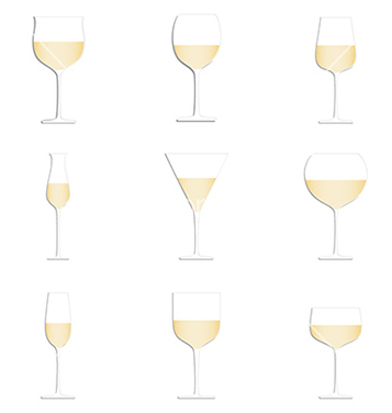 Free different glasses of white wine set isolated in vector - Free vector #233845