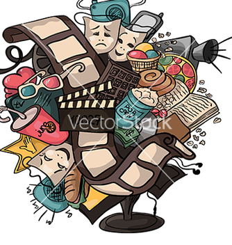 Free beautiful doodle about the movie vector - Free vector #234075