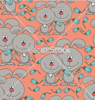 Free pattern with rabbits and flowers vector - vector #234095 gratis