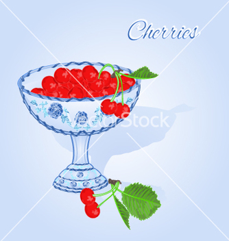 Free cherries in a blue cup fruits and leaves vector - Kostenloses vector #234315