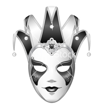 Free black and white joker mask vector - vector gratuit #234495