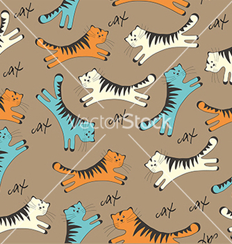 Free pattern with cats on brown background vector - Free vector #234625