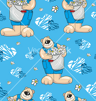 Free pattern with bears on a blue background with vector - vector #234655 gratis