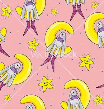 Free pattern with a rabbit and a star on pink vector - vector gratuit #234665